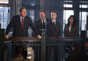 "GOTHAM: Mayor James (guest star Richard Kind, L) holds a press conference after Detectives Gordon (Ben McKenzie, second from R) and Bullock (Donal Logue, second from L) apprehend child abductors in the ""Selina Kyle"" episode of GOTHAM airing Monday, Sept. 29 (8:00-9:00 PM ET/PT) on FOX. Also pictured: Zabryna Guevara. ©2014 Fox Broadcasting Co. Cr: Jessica Miglio/FOX"