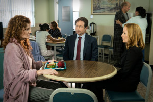 "THE X-FILES: L-R: Guest star Rebecca Wisocky, David Duchovny and Gillian Anderson in the ""Founder's Mutation season premiere, part two, episode of THE X-FILES airing Monday, Jan. 25 (8:00-9:00 PM ET/PT) on FOX. ©2016 Fox Broadcasting Co. Cr: Ed Araquel/FOX"